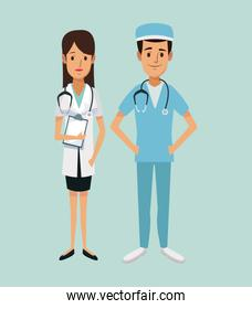 color background of team female doctor and male surgeon