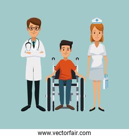 color background with handicapped man in wheelchair and team specialist doctors