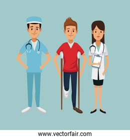 color background with man on crutches and team specialist doctors