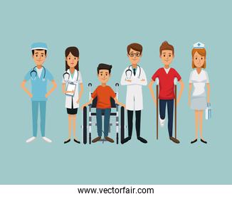 color background group team specialist doctors with handicapped man in wheelchair and on crutches
