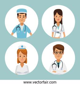 color background with circular frame half body group team specialist doctors inside