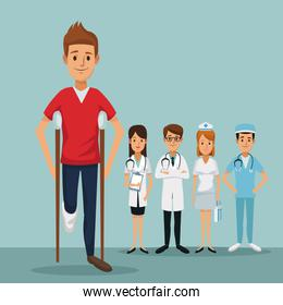 color background group team specialist doctors with closeup handicapped man on crutches