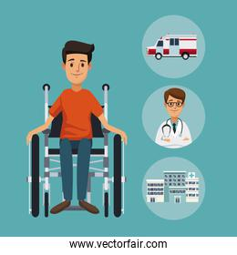 color background with closeup man in wheelchair and circular frame elements hospital