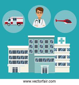 building hospitals with circular frame of vehicles and specialist health