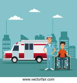 city landscape color background with ambulance truck and surgeon with patient in wheelchair