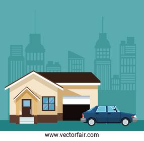 color background of silhouette city landscape with house and car