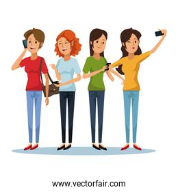 white background with set women social network communication
