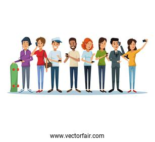 white background with group people social network communication