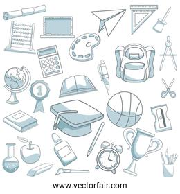 white background with color silhouette shading of set school elements