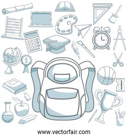 white background with color silhouette shading of briefcase and set school elements