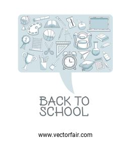 white background with color silhouette shading of dialog box with set school elements
