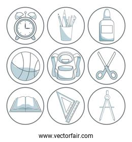 white background with color silhouette shading of circular frame icons school academic elements
