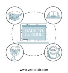 white background with color silhouette shading of chalk board with text back to school and icons elements academic around