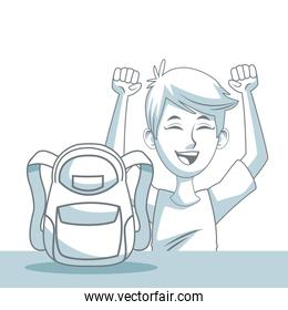 white background with color silhouette shading of guy student and school bag