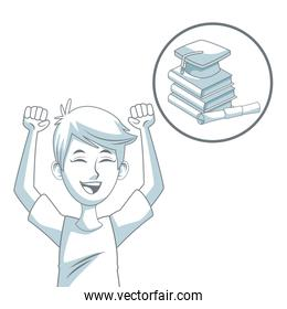 white background with color silhouette shading of guy student and circular icon stack of books with graduation cap and certificate
