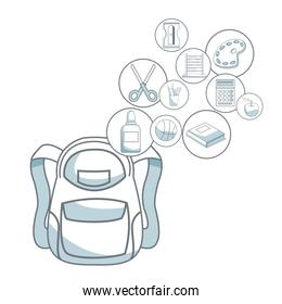 white background with color silhouette shading of closeup briefcase school and circular icons elements academic floating