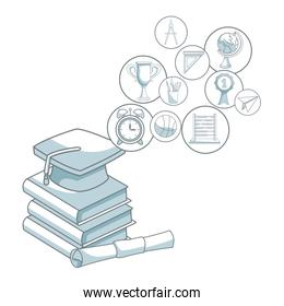 white background with color silhouette shading of closeup stack of books with graduation cap and certificate and circular icons elements academic floating