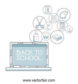 white background with color silhouette shading of chalk board with text back to school and circular icons elements academic floating