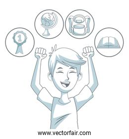 white background with color silhouette shading of guy student excited expression with icons elements school
