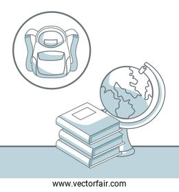white background with color silhouette shading of stack books with earth globe and school briefcase