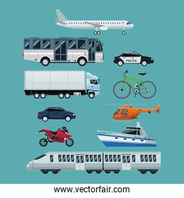 color background with realistic set of vehicles of transport