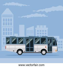 color poster city landscape with bus vehicle transport