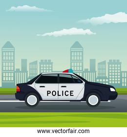 color background city landscape with police car vehicle transport in street