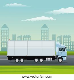 color background city landscape with truck in street