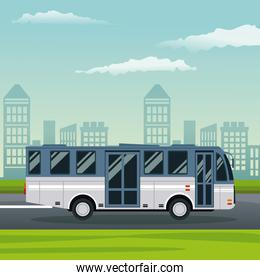color background city landscape with bus vehicle transport in street