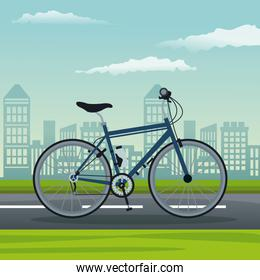 color background city landscape with bicycle vehicle transport in street