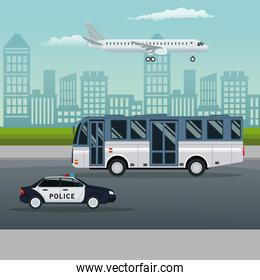 color background city landscape with bus and police car vehicle transport