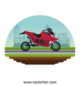 white background circular irregular frame with color scene city landscape with modern motorcycle in street