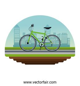 white background circular irregular frame with color scene city landscape with bicycle vehicle transport in street