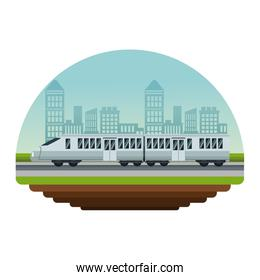 white background circular irregular frame with color scene city landscape with modern train in street