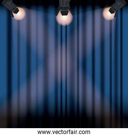 color background stage cinema curtain with spotlights
