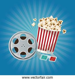color background with glow with film reel and popcorn and glasses 3D
