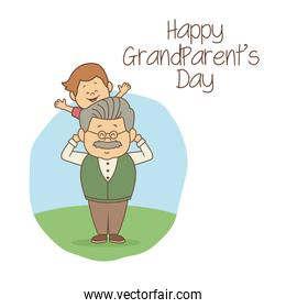 white background with scene grandpa carrying a boy happy grandparents day