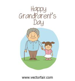white background with scene grandpa holding hand a girl happy grandparents day