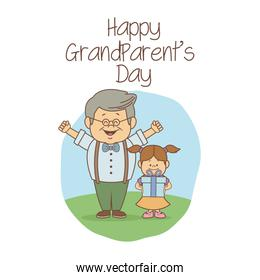 white background with scene grandpa happiness expression and girl with a gift happy grandparents day