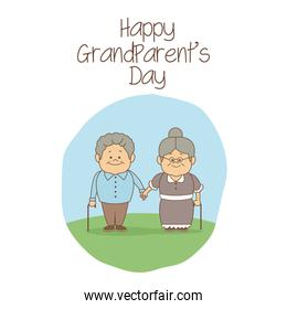 white background with scene elderly couple holding hands happy grandparents day