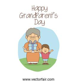 white background with scene grandma happiness expression and boy with a gift happy grandparents day