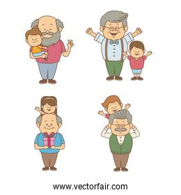 white background with set people of granpa and kids happy grandparents day