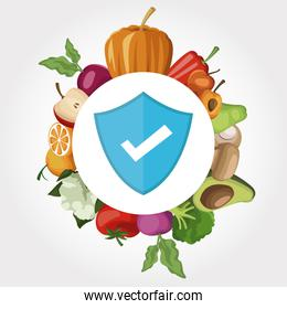 white background with frame vegetables and fruits healthy shield icon