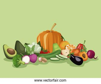 color background with vegetables and fruits healthy food set