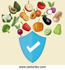 color background with shield healthy symbol and vegetables and fruits floating