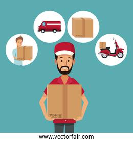 color background with half body man worker with package and icons fast delivery