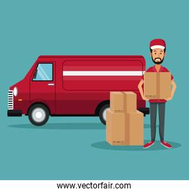 color background with man worker with packages and truck fast delivery