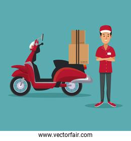 color background with man worker with scooter and packages fast delivery