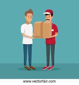 color background with men worker with packages to customer fast delivery
