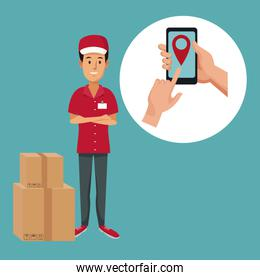 color background with man worker with packages fast delivery and icon smartphone location